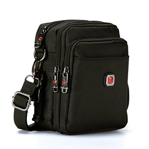 Soperwillton Vintage Water Resistant Oxford Waist/Shoulder Multipurpose CrossBody Bag for Man, With...