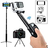 GreatCool Pole Selfie Stick with Flexible Tripod Accessories for GoPro Fusion Hero 6 5 4 3 2 - Action Camera - iPhone 8 plus 7 6 5 Phone and SLR SJCAM AKASO Camk EKEN APEMAN FITFORT DBPOWER Action Camera