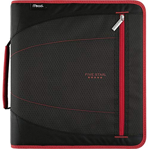 Five Star 2 Inch Zipper Binder, 3 Ring Binder, Removable File Folders, Durable, Red/Black (29036CE8) (3 Ring Binder Zipper 2 Inch)