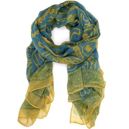 Flirty Light - Fun Flirty Paisley Scarf in Airy Lightweight Fabric Aqua Teal Palette Bucasi