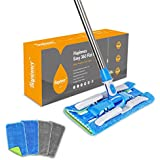 HAPINNEX Microfiber Dust Floor Mop - 4 Washable & Reusable Flat Mop Cloths/Pads - For Home Kitchen Bathroom Cleaning - Wet or Dry Usage on Hardwood, Laminate & Tile