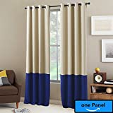 """NICETOWN Color Block Curtain Panels - Home Fashion Thermal Insulated Grommet Blackout Curtains (1 Panel,52 by 63"""",Beige & Blue)"""