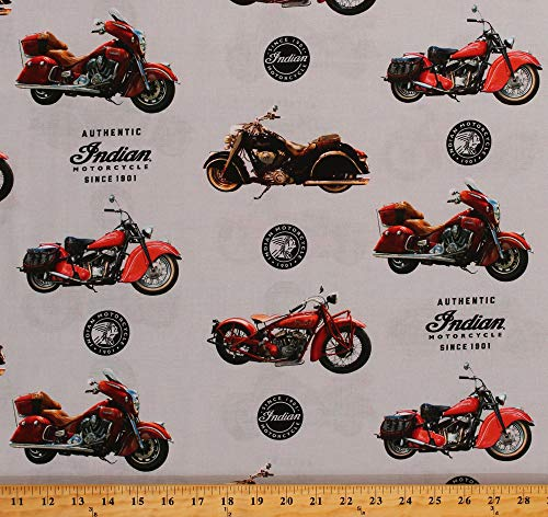 (Cotton Indian Motorcycles Bikes Since 1901 Logos Transportation Gray Cotton Fabric Print by The Yard (D673.55))