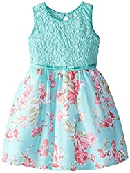 Pinky Pink Little Girls' Floral Print Dress with Crinoline, Turquoise, 6X