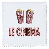 3dRose RinaPiro Movie Sayings - Le Cinema. Popcorn. - 16x16 inch quilt square (qs_273568_6)