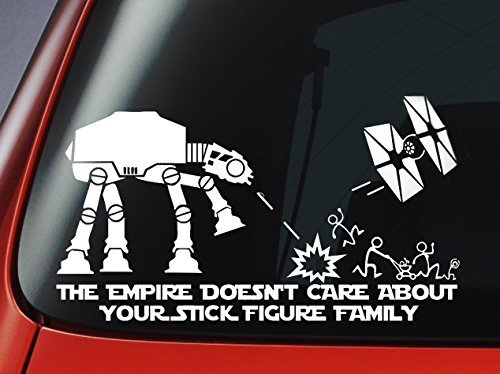 Decal Window Sticker Car (Star Wars ATAT & Tie Fighter Inspired 'The Empire Doesnt Care About Your Stick Figure Family