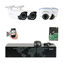 GW Security 8CH 5 Megapixel 1920P Video Home Security Camera System, 2pcs HD 1920p 5MP Outdoor Bullet & 2pcs Dome IP Camera ,80-120ft Night Vision, 330ft Transmit Range, 2TB HDD
