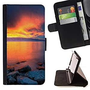 For Apple Apple iPhone 4 / iPhone 4S Case , Sunset Beautiful Nature 36- la tarjeta de Crédito Slots PU Funda de cuero Monedero caso cubierta de piel
