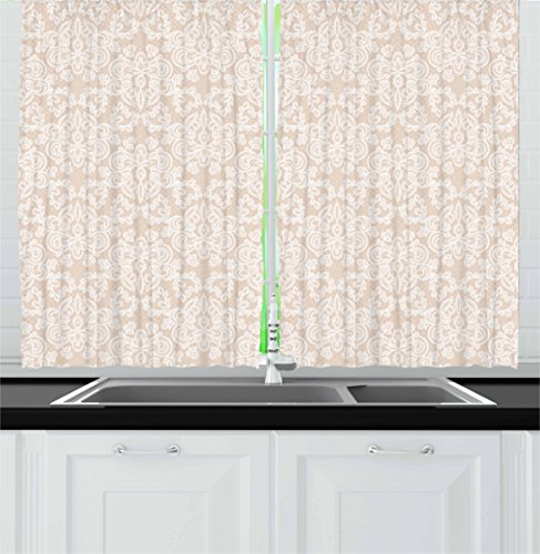Lunarable Cream Kitchen Curtains, Wedding Inspired Symmetrical Design White Lace Style Background Pattern Damask Vintage, Window Drapes 2 Panel Set for Kitchen Cafe, 55 W X 39 L Inches, Tan White (Satin Cream Shade)