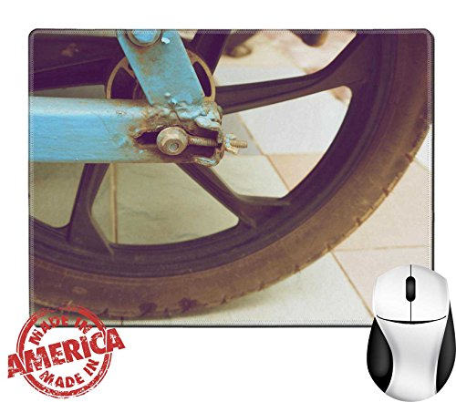 """Luxlady Natural Rubber Mouse Pad/Mat with Stitched Edges 9.8"""" x 7.9"""" Old bolt and wheel of motorcycle trailer in vintage style IMAGE 28758840"""