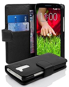Cadorabo Carcasa para LG G2 Mini Móvil En Funda con Tarjetero de struktri ertem Piel sintética Case Cover Carcasa Funda Book Style óxido Negro