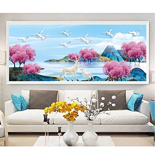 Elk Blossom - DIY 5D Full Diamond Painting Kits By Numbers,Cherry blossoms elk mountain landscape Diamond Crystal Embroidery Cross Stitch Rhinestone Handmade Craft, No Frame