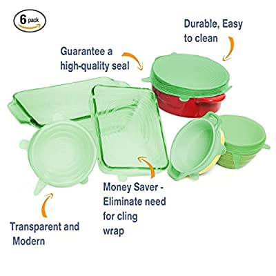 Multi Size 6 Silicone Lids Food and Bowl Covers - Reusable Stretch Lids Cover Wrap for Cans, Containers, Mugs, Mason Jars and Bowls - Perfect Baking and Cooking Kitchen Gadgets