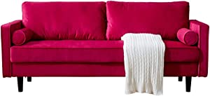 Peciafy Mid-Century Modern Loveseat/Sofa/Couch, with Upholstered Fabric in Brown for Living Room, Bedroom, Office, Apartment - Red
