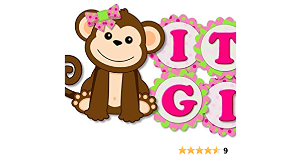 Baby Shower or Birthday Party Decorations 27 Count Large Confetti Giant Circle Confetti Pink Monkey Girl Girl Party Supplies
