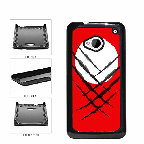 BleuReign(TM) Superhero Black Slashes On Japan Flag Plastic Phone Case Back Cover HTC One M7