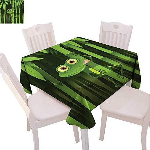 - cobeDecor Animal Dinning Tabletop DecorFunny Illustration of Friendly Fun Frog on Stem of The Bamboo Jungle Trees Cute Nature Table Cover for Kitchen 70