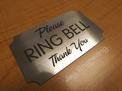 Engraved ~ Please Ring Bell ~ 3x5 Brushed Silver Door Sign | Name Plate | Wall Plaque for Business Home Office Adhesive -