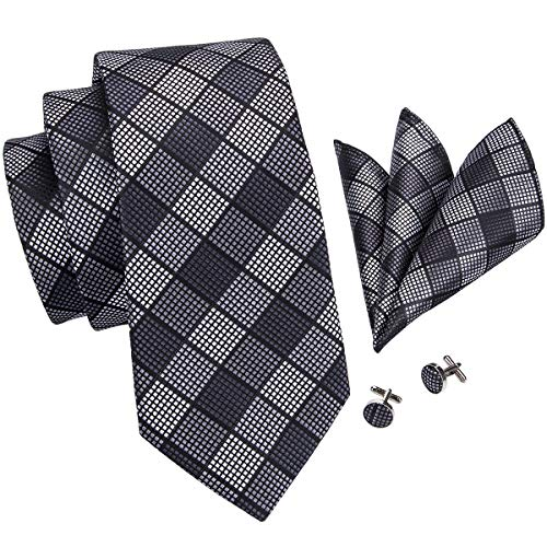 Hi-Tie Men Black Gray Check Plaid Tie Necktie with Cufflinks and Pocket Square Tie Set