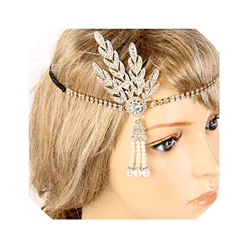 Vintage Bridal Headpiece Costume Hair Clips Flapper Great Gatsby Inspired Leaf Medallion Pearl Head Hair Accessories,Gold]()