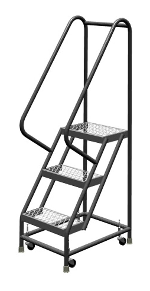 Tri-Arc KDSR103162 3-Step Steel Rolling Industrial and Warehouse Ladder with Handrails and 16'' Wide Grip-Strut Tread