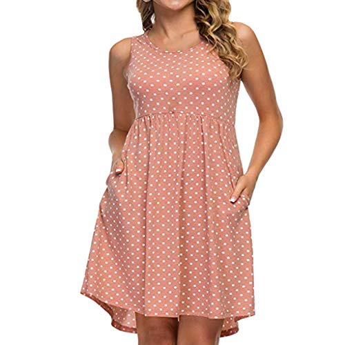 Coedfa✿✿ Women Fashion Dot Print O-Neck Cold Shoulder Sleeveless Mini Dress Summer Casual Dress Pink ()