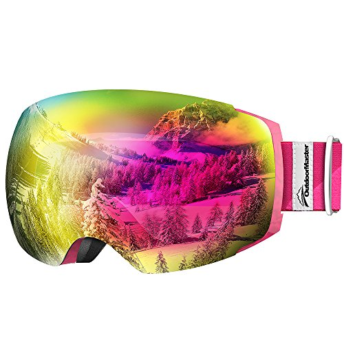 OutdoorMaster Ski Goggles PRO - Frameless, Interchangeable Lens 100% UV400 Protection Snow Goggles for Men & Women ( Pink Frame VLT 17% Rose Lens with and Free Protective Case ) (Roxy Goggles)