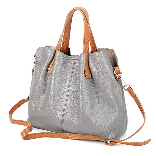 Grey Soft Leather (Molodo Womens Satchel Hobo Top Handle Tote Geuine Leather Handbag Shoulder Purse)