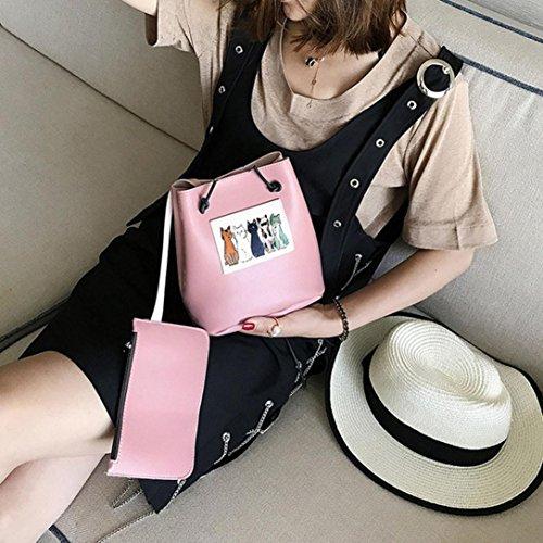 gaddrt de las mujeres Casual bolso de hombro bolsa bolsa bolso de mano 2pcs Set, diseño de piel de gato Cruz Cuerpo Bolso de mano Rosa
