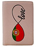 [OxyCase] Designer Light Weight PU Leather Passport Holder Cover/Case - Infinity Love Portugal Flag Design Printed Cute Travel Wallet for Girls/Women