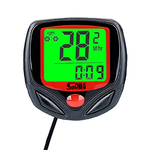 Multifunction Bicycle Cycle Cycling Wired Odometer Computer Waterproof with Backlight LCD Screen by Bahff
