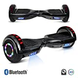 6.5'' inch Chrome Hoverboard Electric Smart Self Balancing Scooter With Built-In Bluetooth Speaker LED Wheels and LED Side Lights- UL2272 Certified (Black)