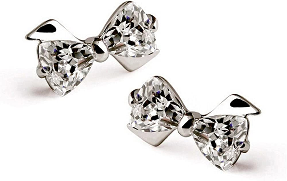 Girls Bow delicate Ear Studs 925 Sterling Silver