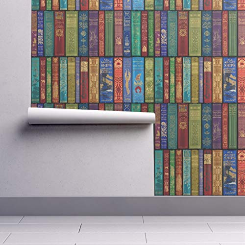 Removable Water-Activated Wallpaper - Colorful Books Books Library Shelves Antique Vintage Mural English Rainbow by Peacoquettedesigns - 24in x 96in Smooth Textured Water-Activated Wallpaper Roll
