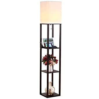 Brightech Maxwell LED USB Shelf Floor Lamp Modern Asian Style Standing Lamp  With Soft Diffused Uplight