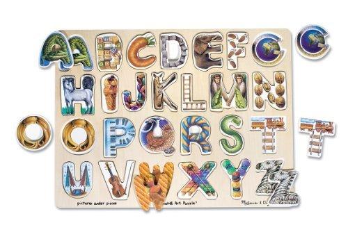Alphabet Art Wood Puzzle + FREE Melissa & Doug Scratch Art Mini-Pad Bundle [00833] Abc Art Puzzle
