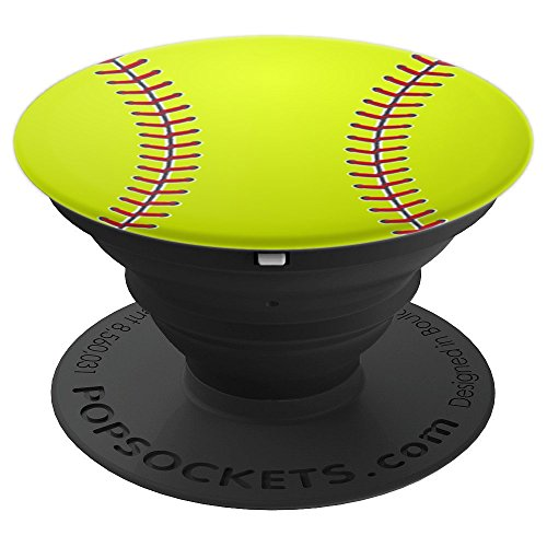 Yellow Softball Ball Red Laces Sports Girl - PopSockets Grip and Stand for Phones and Tablets