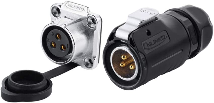 CNLINKO LP20 Aviation Connector M20 Male Plug with Female Socket Waterproof Metal Thread Panel Connector 3 Pins for AC DC Signal LED Lighting Equipment