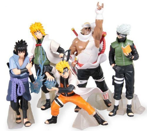 GRHOSE New NARUTO Anime 14-17cm PVC Figure Set with Base toys of 5pcs ()