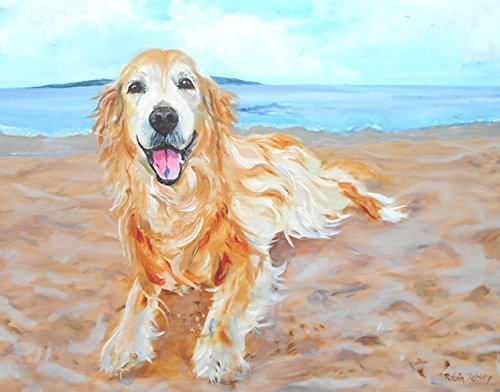 Golden Retriever Art, Print of original oil painting of Dog on the Beach, signed by Artist, 8