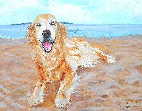 Golden Retriever Art, Print of original oil painting of Dog