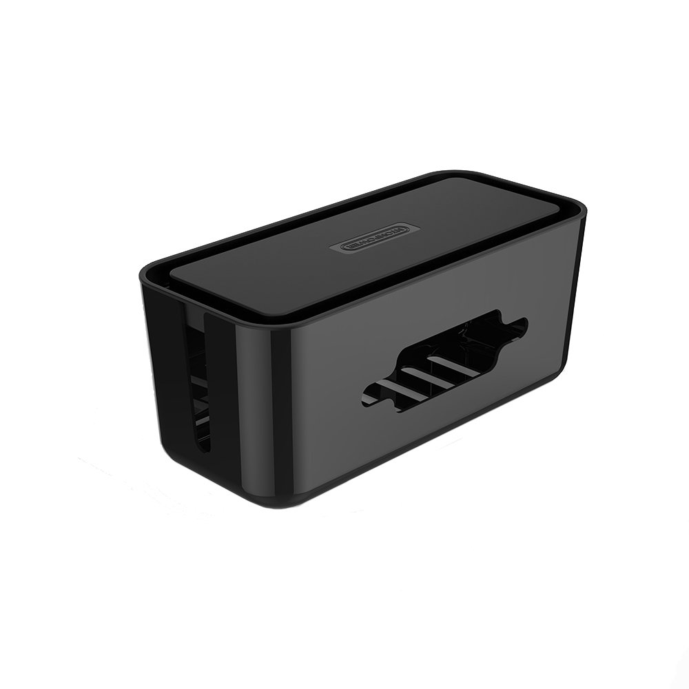 NTONPOWER Cable Management Box Power Strip Cover with Phone Stand 12.2 X 5.4 X 5.1 inches Cord Organizer Box Wires Hider for Home Office Desk Surge Protector TV Computer Entertainment Center - Black
