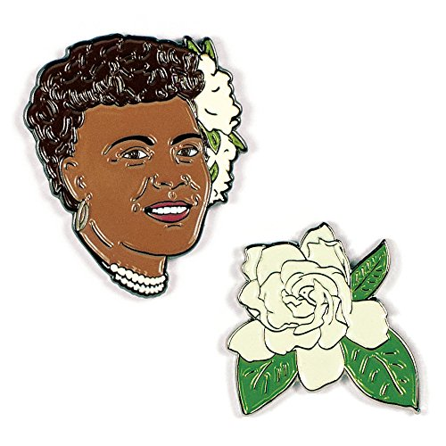 Holiday Enamel - Billie Holiday and Gardenia Enamel Pin Set - 2 Unique Colored Metal Lapel Pins