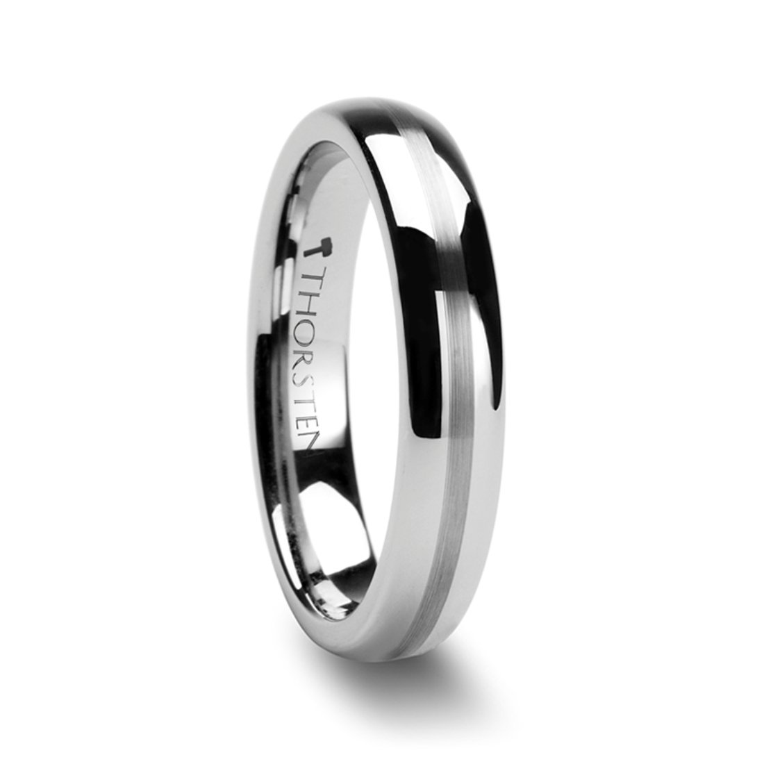Thorsten BELLATOR Domed with Brushed Center Stripe Polished Tungsten Ring 4mm Wide Wedding Band from Roy Rose Jewelry