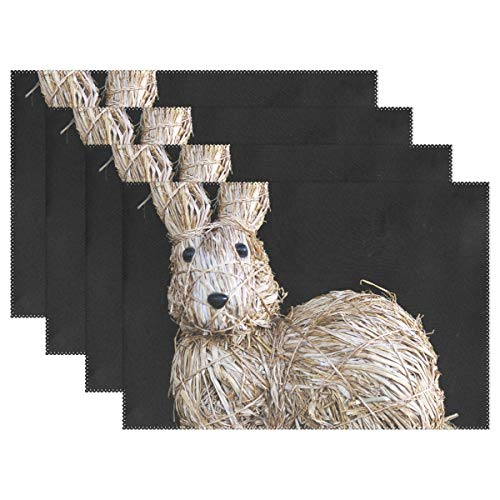 JTMOVING Easter Decoration Easter Hare Straw Bunny Placemats Set Of 4 Heat Insulation Stain Resistant For Dining Table Durable Non-slip Kitchen Table Place Mats ()
