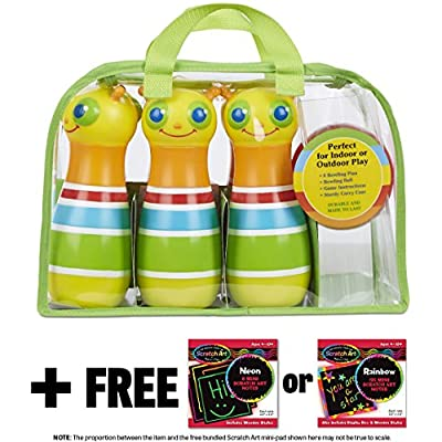 Melissa & Doug Giddy Buggy Bowling Set: Sunny Patch Outdoor Play Series & 1 Scratch Art Mini-Pad Bundle (06685): Toys & Games