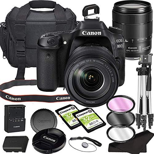 EOS 80D DSLR Camera Bundle with 18-135mm USM Lens with Built-in Wi-Fi | 24.2 MP CMOS Sensor | DIGIC 6 Image Processor…