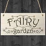 Fairy Garden Wooden Hanging Plaque Shabby Chic Fairies Sign