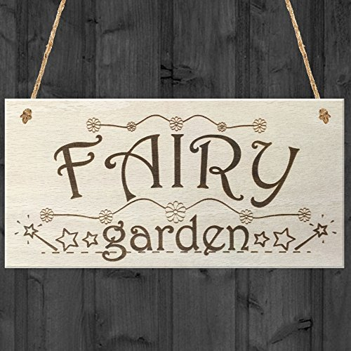 Fairy Garden Wooden Hanging Plaque Shabby Chic Fairies Sign by Acove