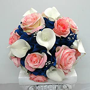 Royal Blue and white Calla Lily Silk Flower Wedding Bouquet for Bridal Party and Bride 1